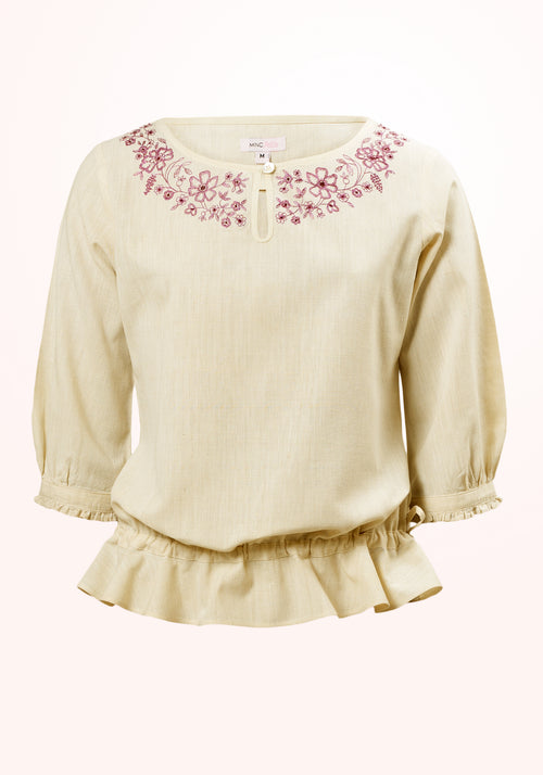 Clover Girls Top in Yellow Cotton Khadi