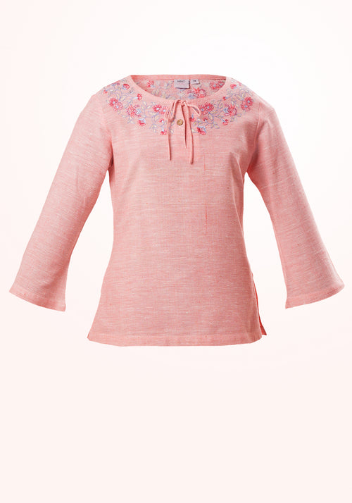 Peach Girls Top In Pink Cotton Khadi