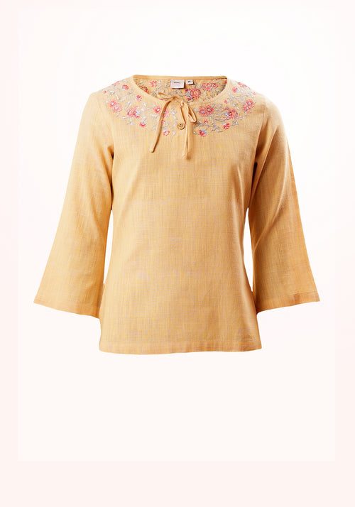 Apricot Girls Top In yellow Cotton Khadi