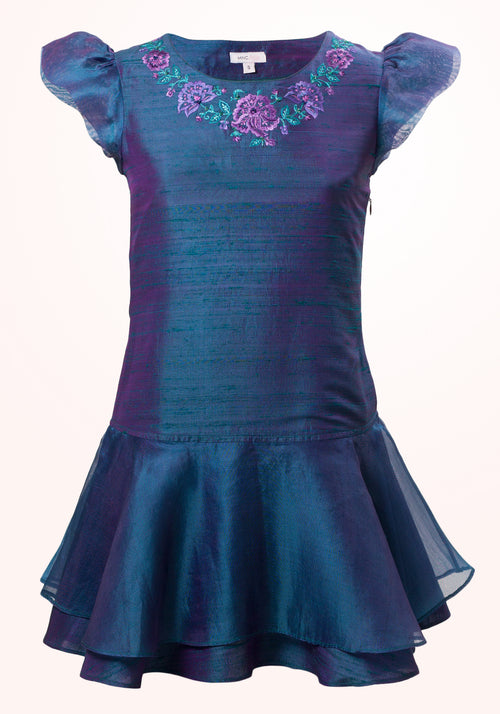 Peacock Blue Girls Dress in Embroidered Silk