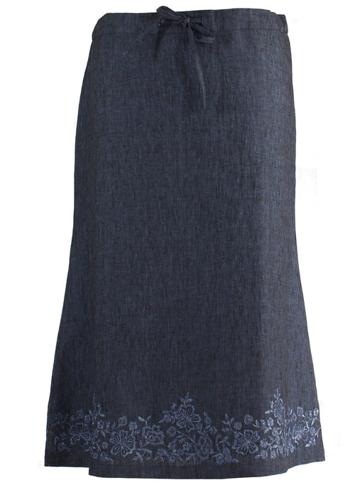 3/4 length Skirt in blue linen with floral Embroidery