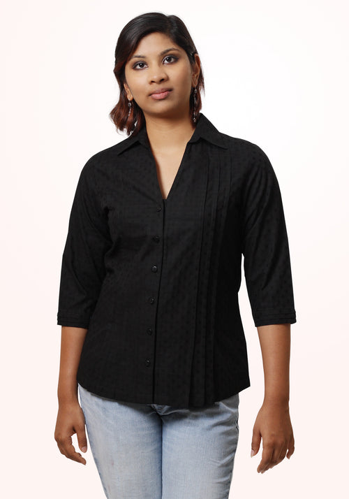 Pleated Shirt In Black Polka Cotton