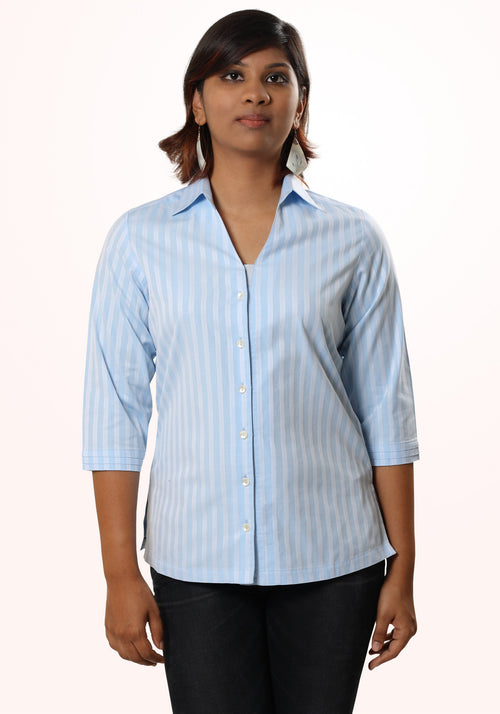 Classic Striped Cotton Shirt Blue