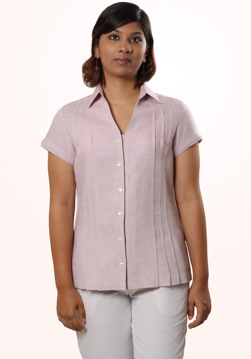Pleated Linen Shirt in Lavender Linen