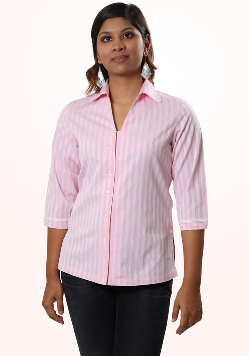 Classic Striped Cotton Shirt In Pink