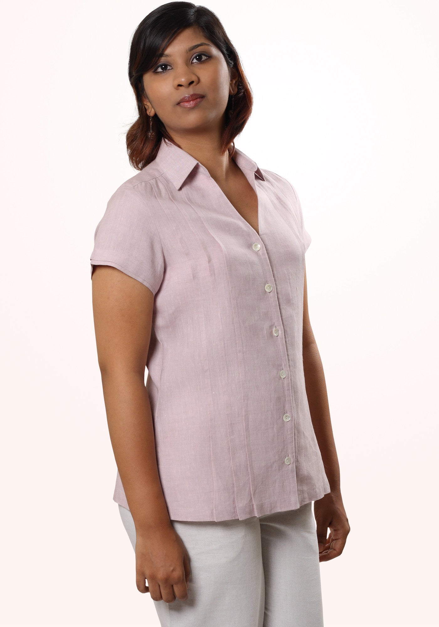 Pleated Linen Shirt in Lavender Linen - MINC ecofashion