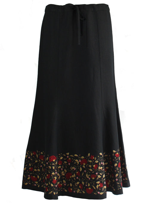 Ankle length Skirt in black linen with floral Embroidery