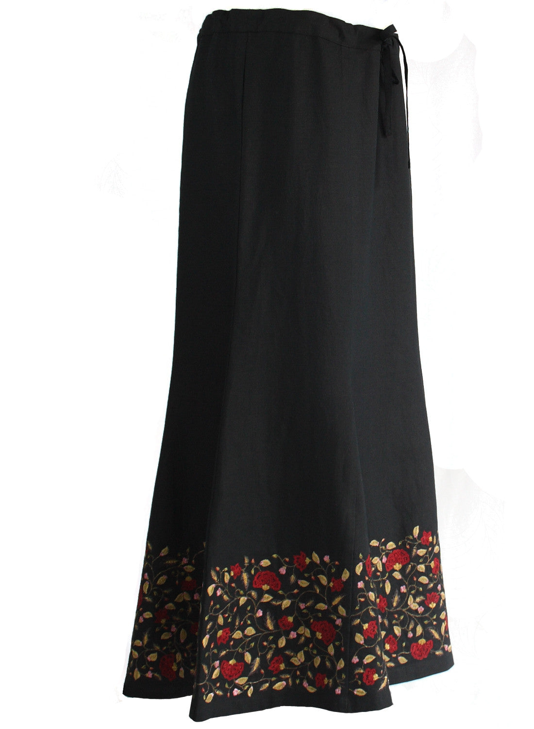 Ankle length Skirt in black linen with floral Embroidery - MINC ecofashion