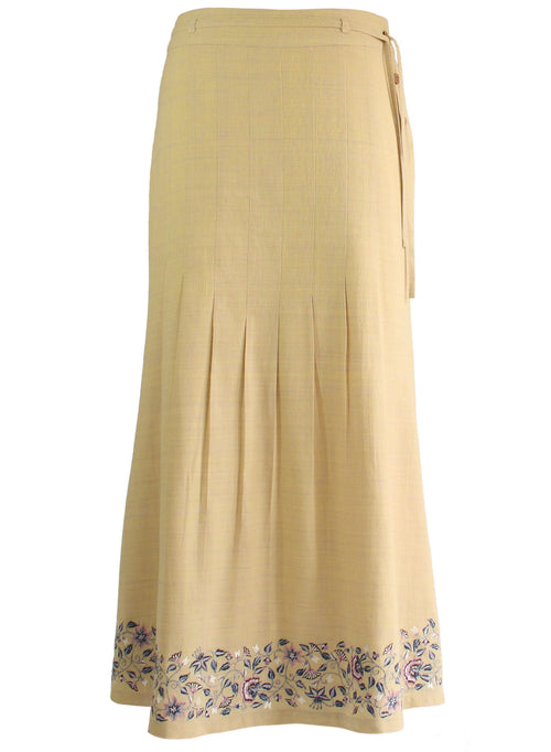 Ankle length Skirt in Beige Khadi with Floral Embroidery