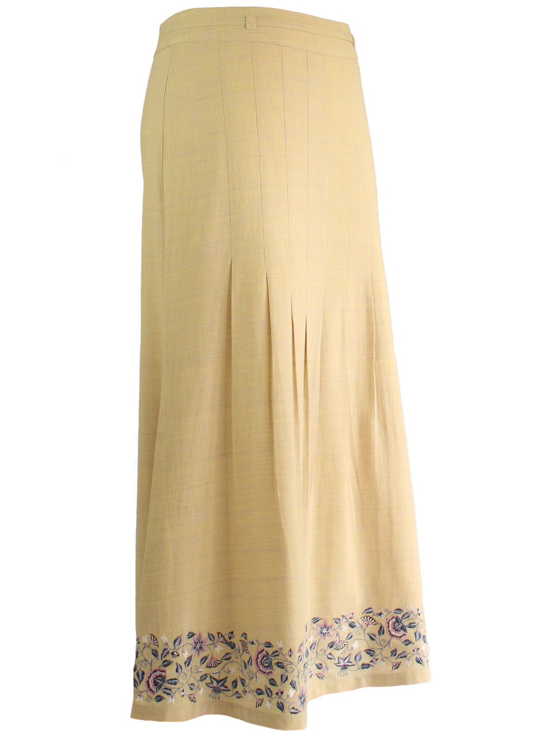 Ankle length Skirt in Beige Khadi with Floral Embroidery - MINC ecofashion