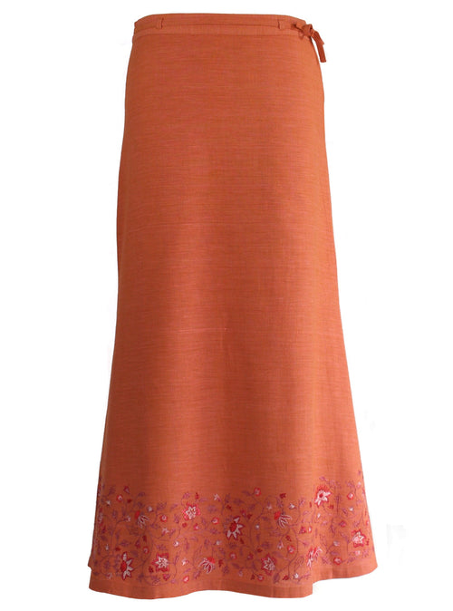 Ankle length Skirt in Orange Khadi with Floral Embroidery