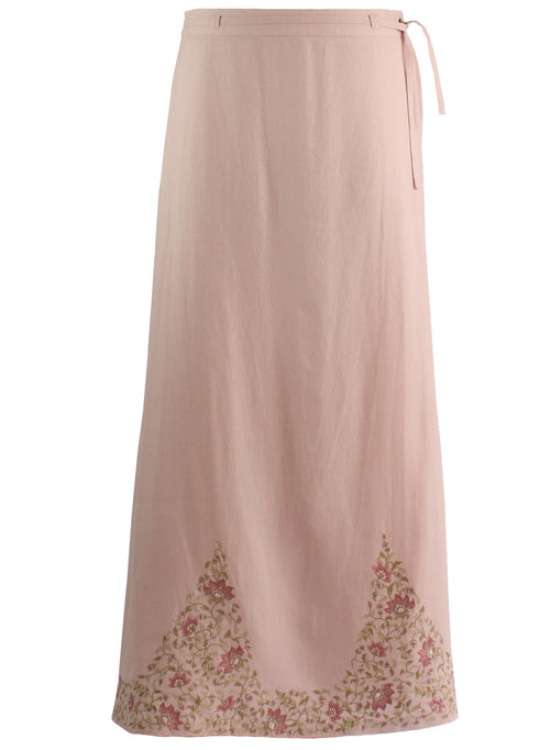 Ankle length Skirt in Pink linen with Beige Embroidery