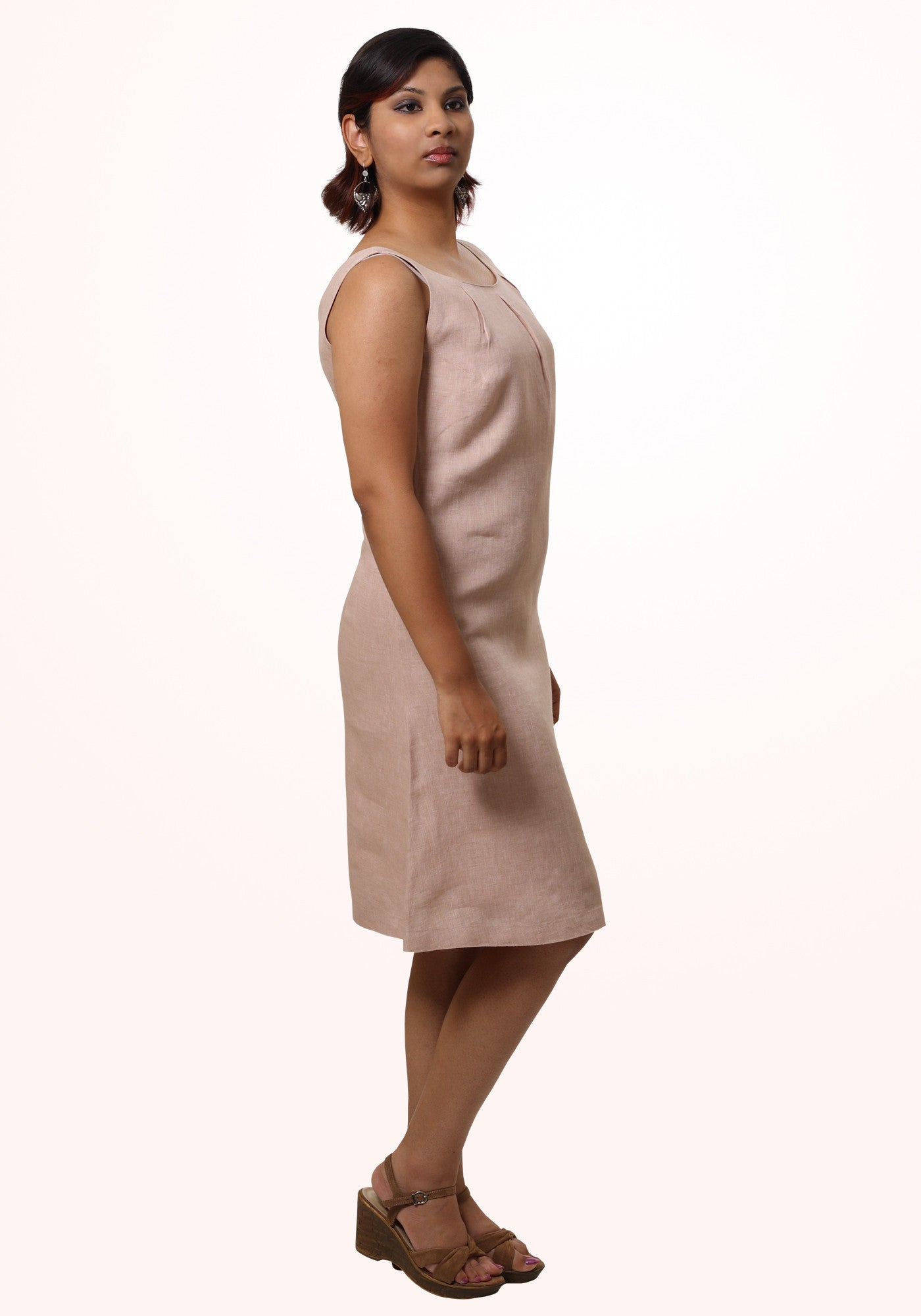 Pleated Short Dress in Beige Linen - MINC ecofashion