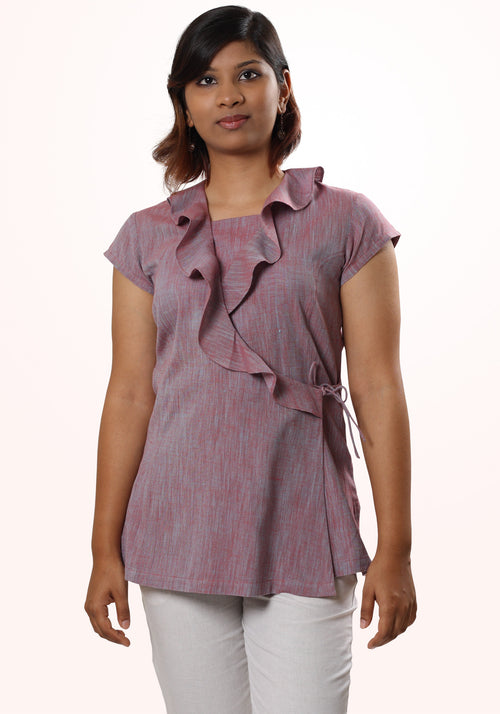 Asymmetric Ruffle Neck Top in Purple Cotton Khadi
