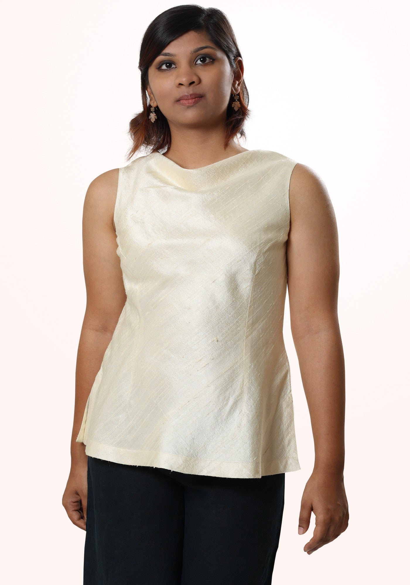 Silk Cowl Neck Short Top - MINC ecofashion