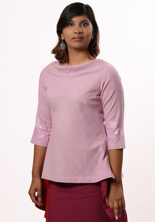 Classic Short top In Pink Cotton Khadi