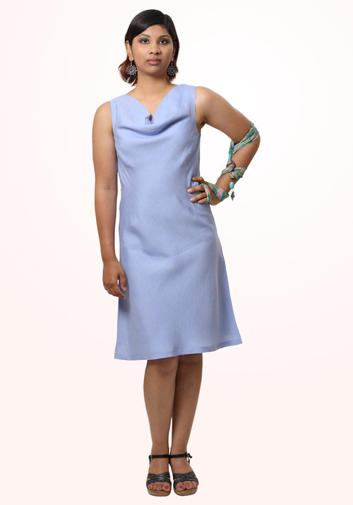 Short Cowl Neck Dress in Lilac Modal Linen