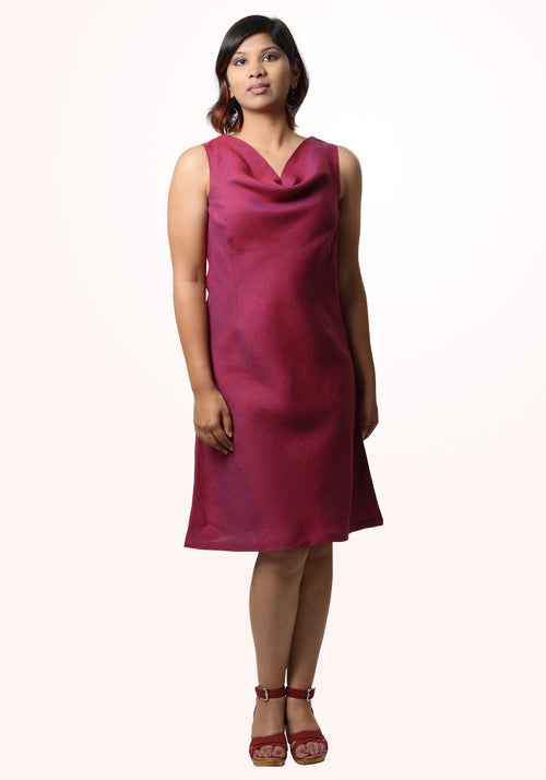 Linen cowl dress - plum passion