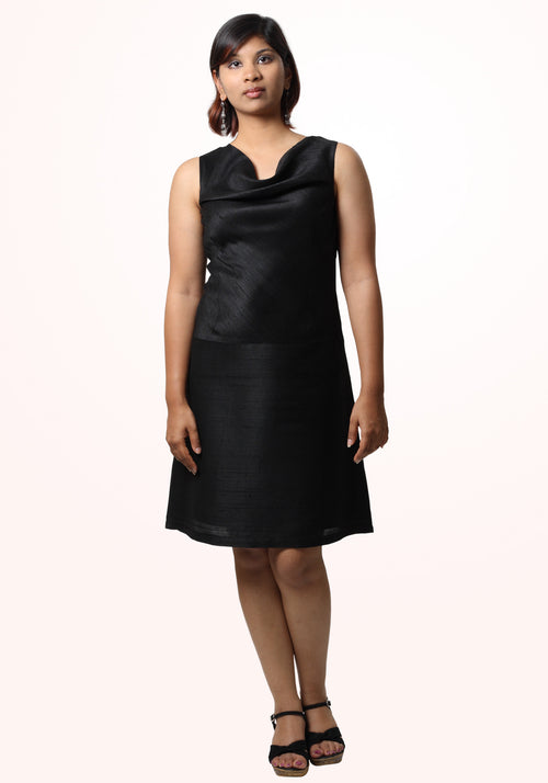 Short Cowl Neck Dress in Black Silk