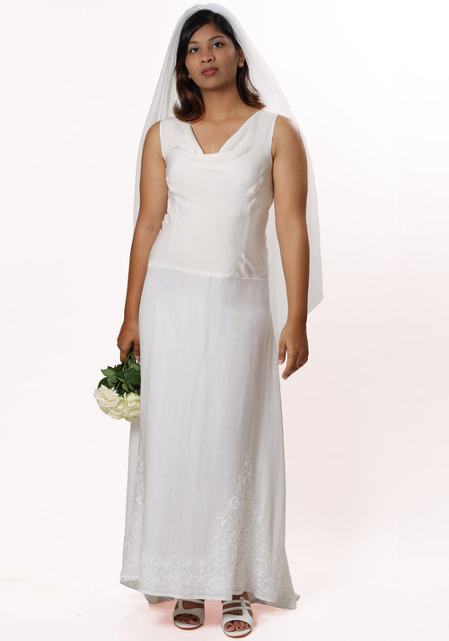 Angelina's Cowl Neck Embroidered Wedding Dress in White Silk