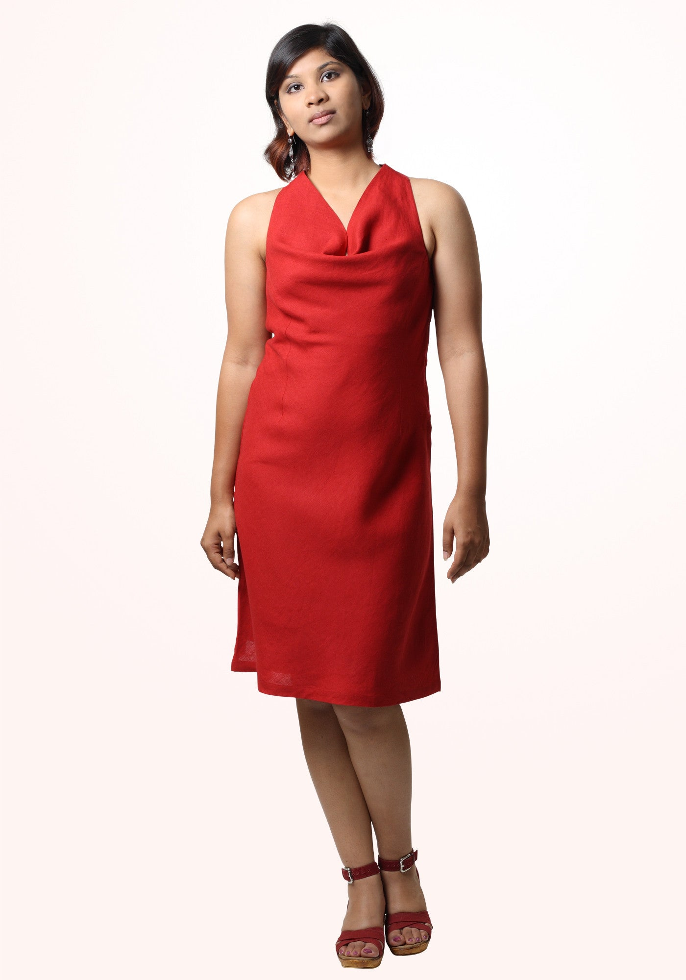 Ruby Halter Cowl Dress In Red Linen - MINC ecofashion