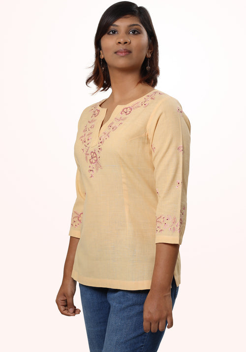 Embroidered Khadi Short Top in Sunshine Yellow