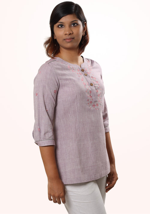 Classic khadi top In Lilac Cotton