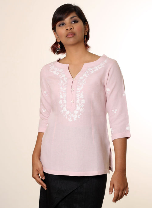 Embroidered Linen Tunic in Pink