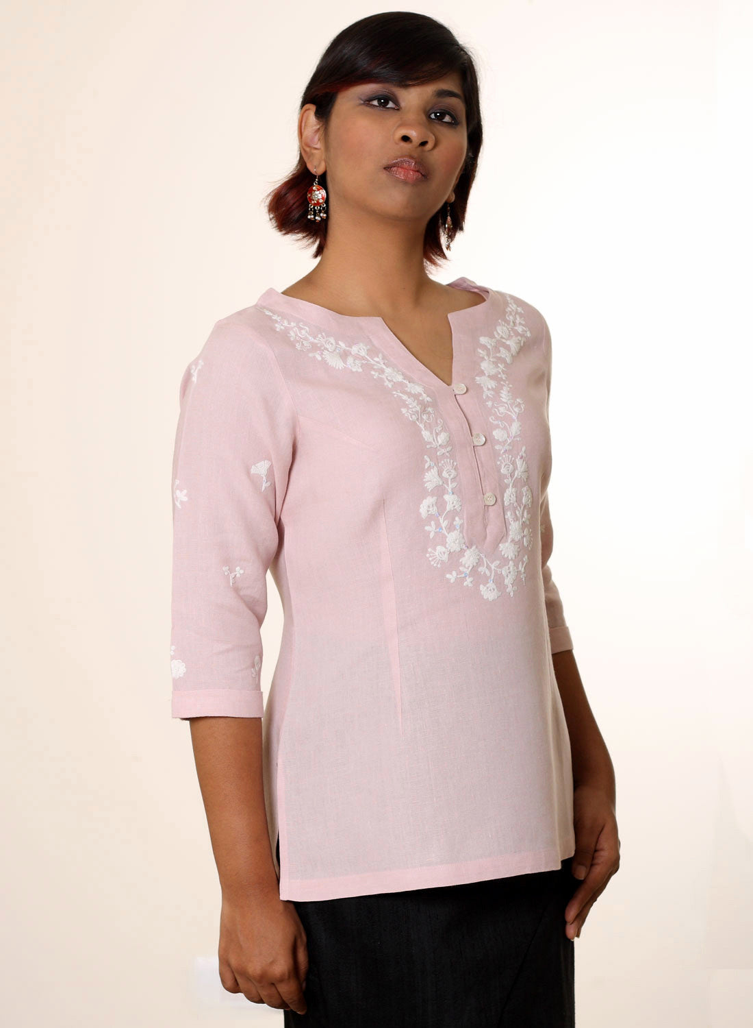 Embroidered Linen Tunic in Pink - MINC ecofashion