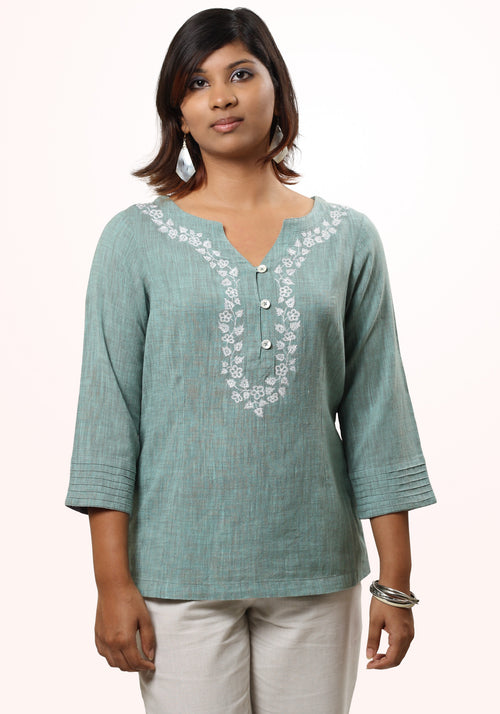 Embroidered khadi Top
