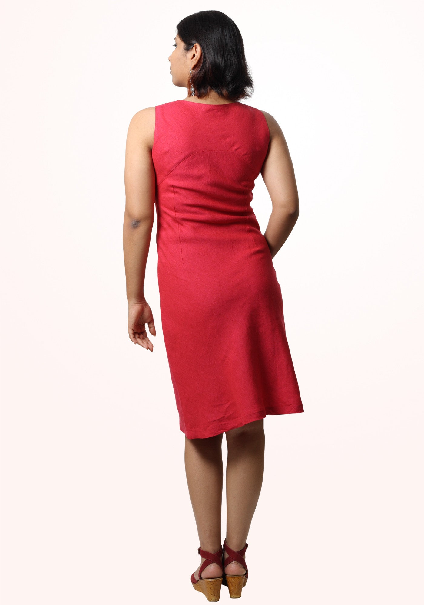 Pamela Short Dress In Fuchsia Linen - MINC ecofashion