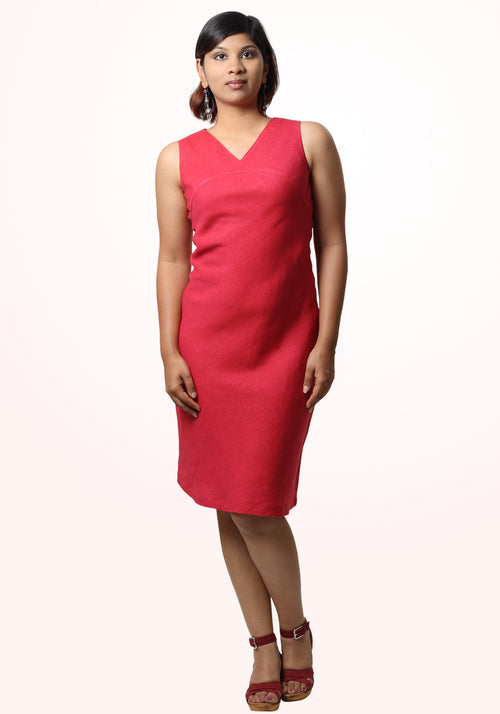 Pamela Short Dress In Fuchsia Linen