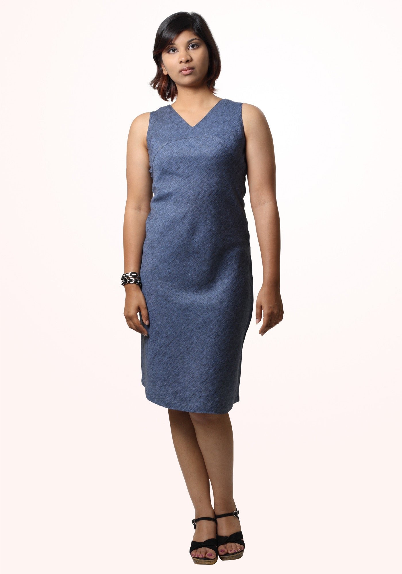 Linen bias dress - denim blue - MINC ecofashion