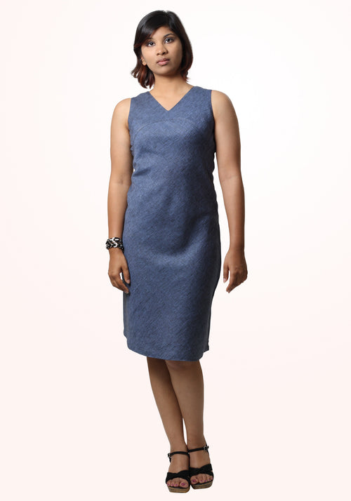 Linen bias dress - denim blue
