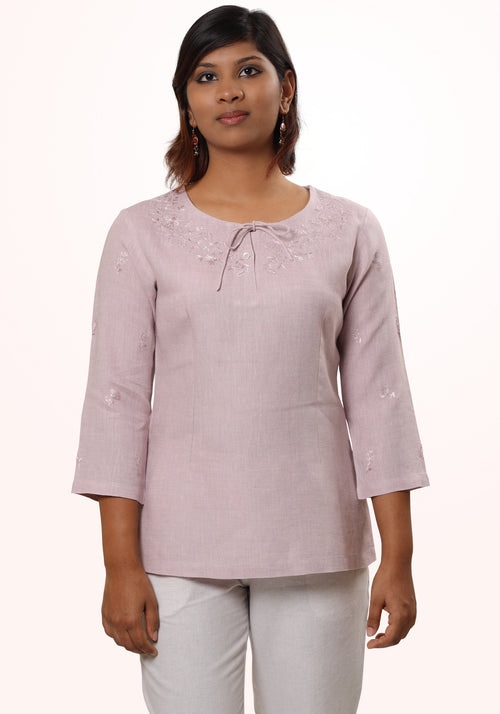 Anisha Lavender Embroidered Linen Tunic