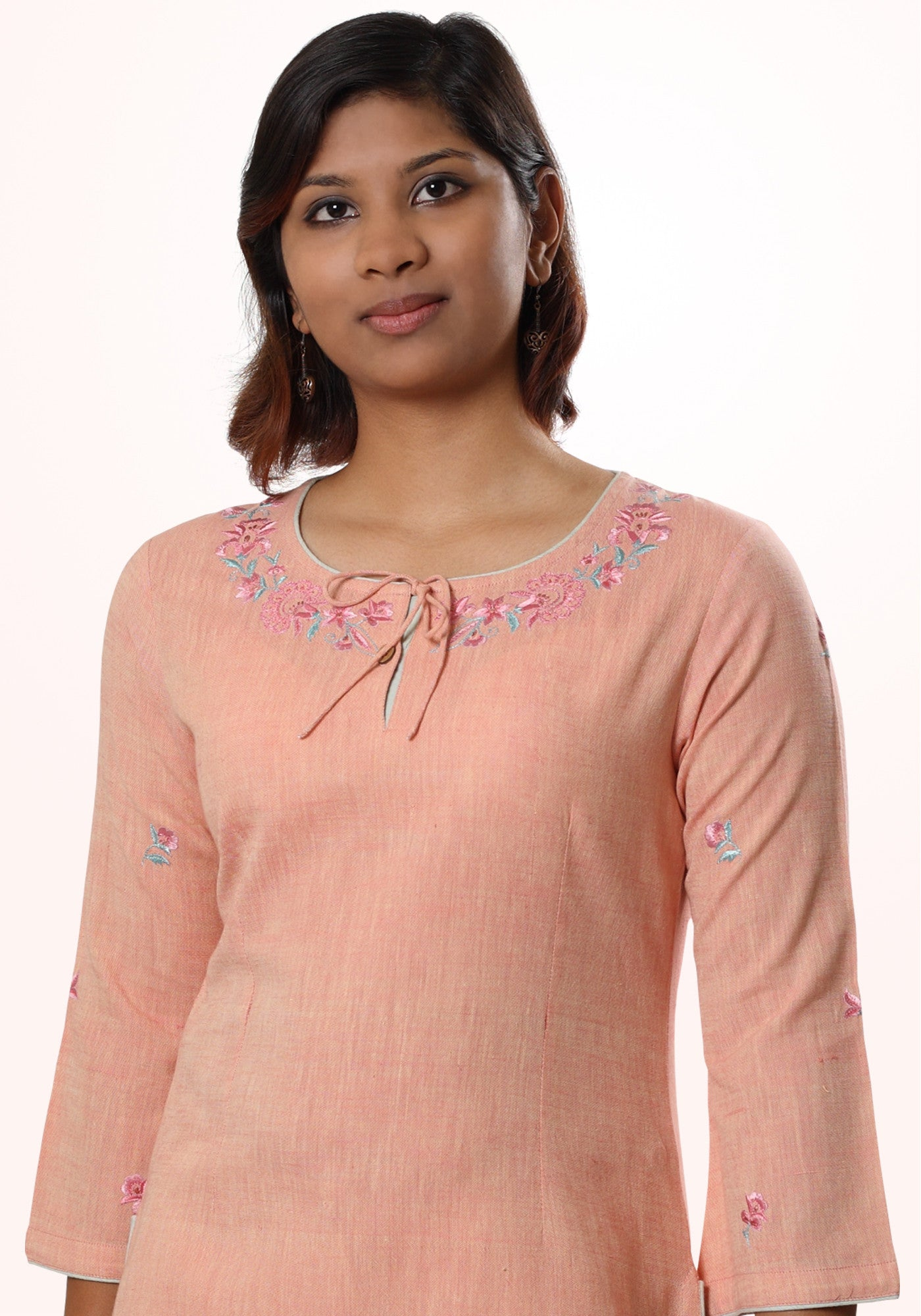 Embroidered Short Kurta In Orange Cotton Khadi - MINC ecofashion