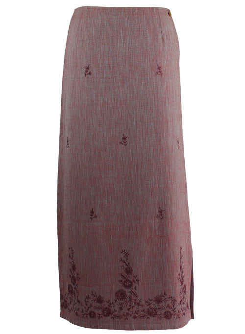 Long Skirt in purple cotton khadi with contrast floral Embroidery