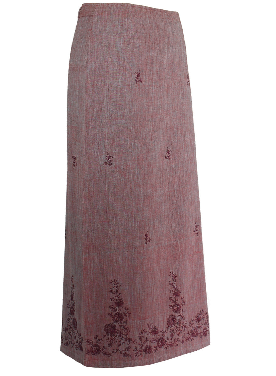Long Skirt in purple cotton khadi with contrast floral Embroidery - MINC ecofashion