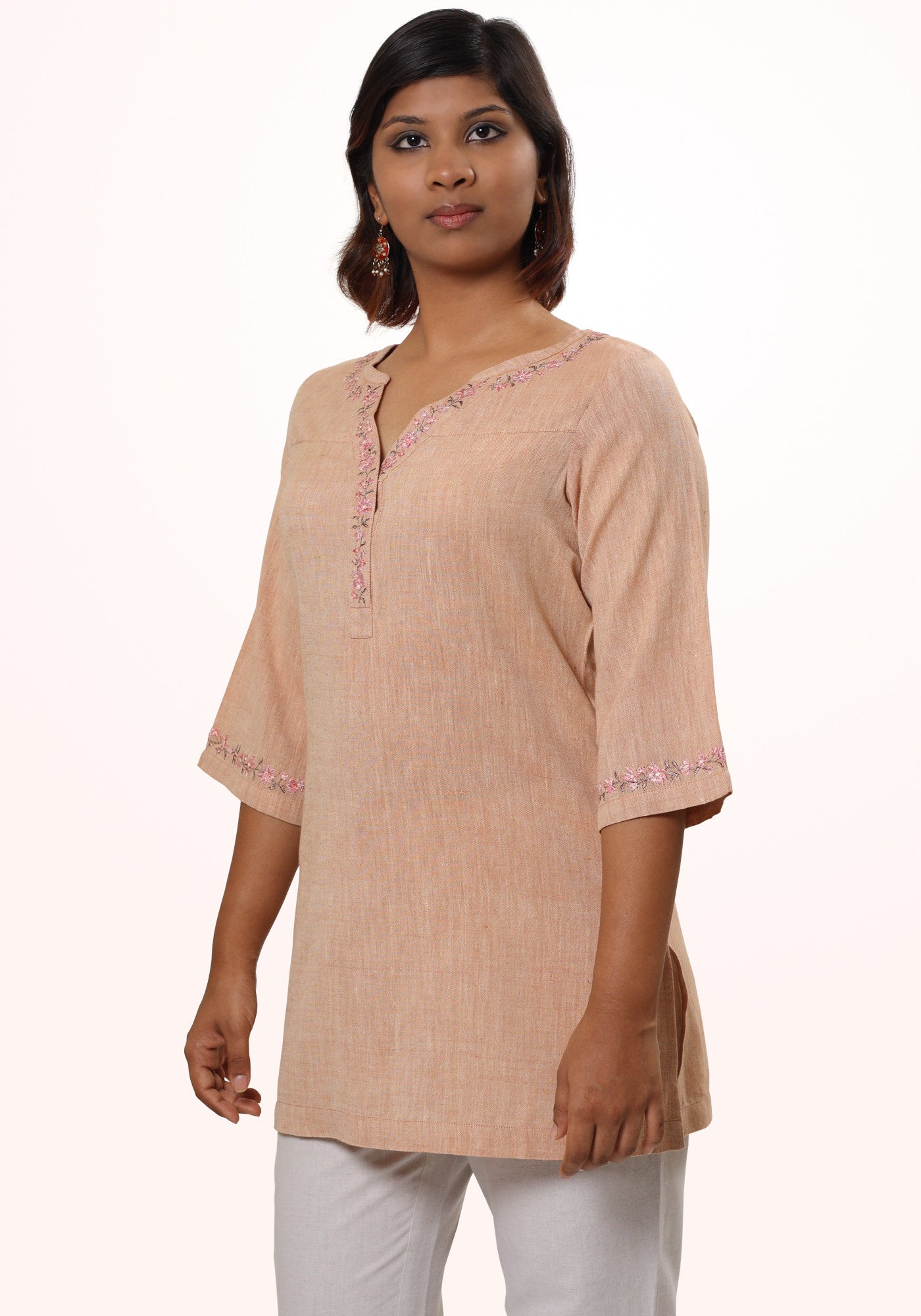 Kiran Embroidered Kurta in Beige Khadi - MINC ecofashion
