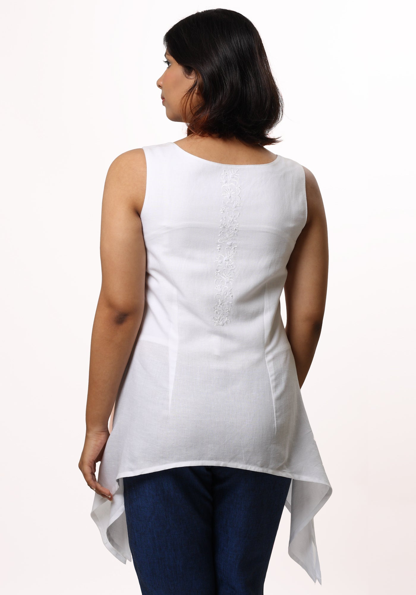 f252f7b1933 Handkerchief Hem Tunic in White Linen