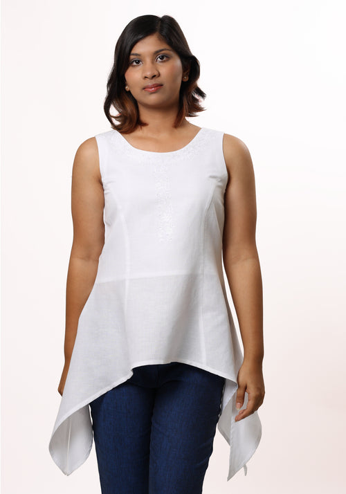 Handkerchief Hem Tunic in White Linen