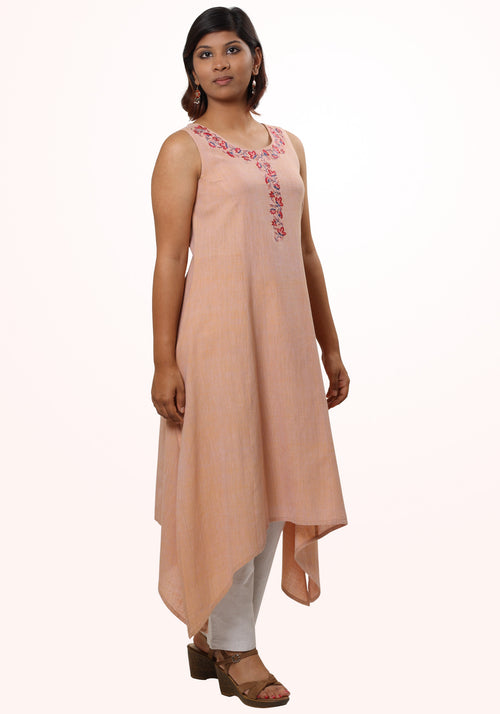 7bf78d08bb1 Embroidered Sleeveless Kurta in Beige Cotton Khadi. MINC ecofashion