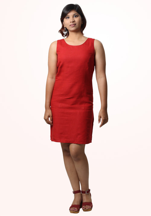 Stephanie Short Dress In Red Linen