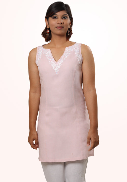 Esha Linen Tunic in Lotus Pink