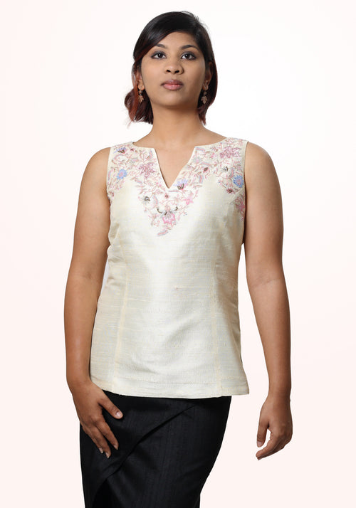 Silk sleeveless hand embroidered top