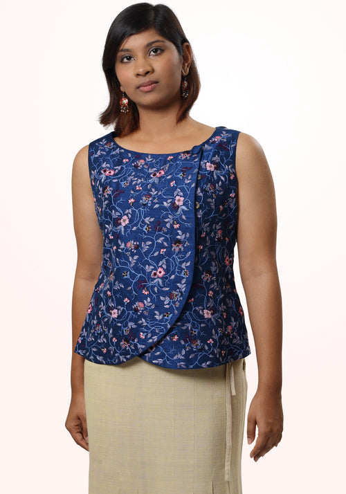 Sleeveless hand embroidered short top