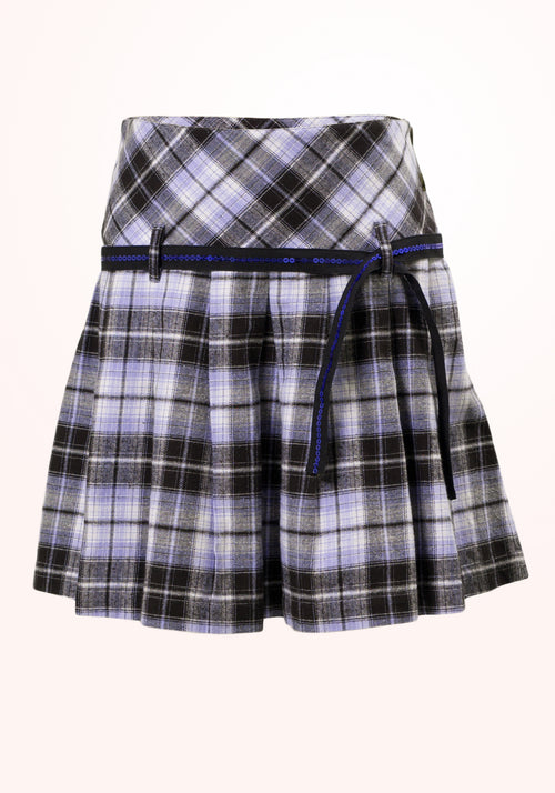 Tic Tac Toe Girls Skirt in Blue Checks