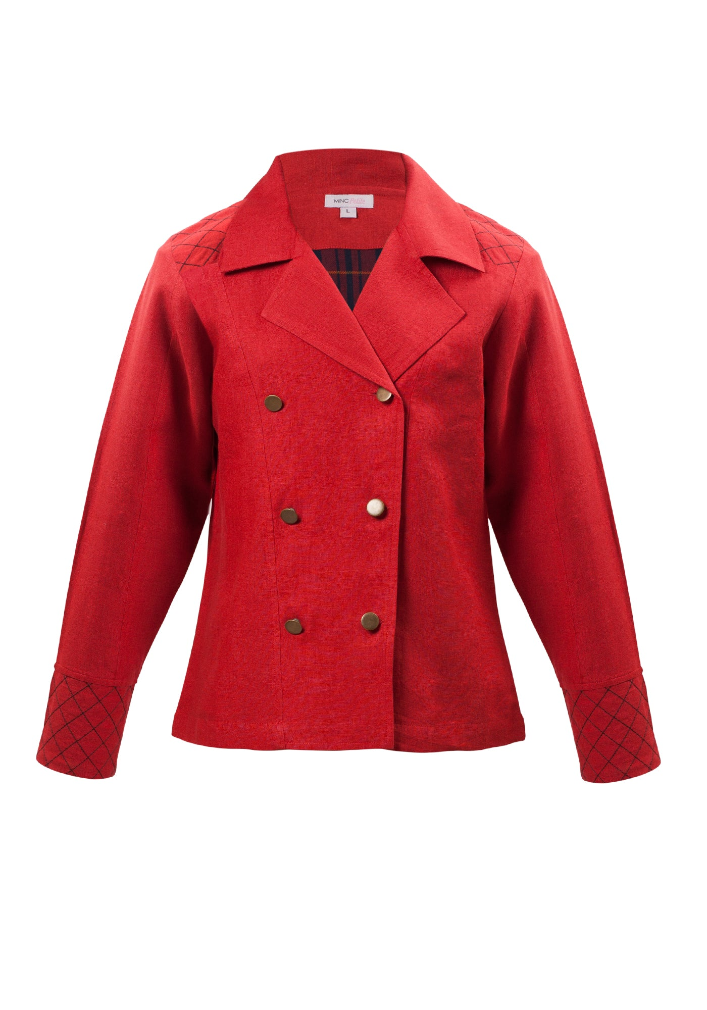 Little Toy Soldier Jacket in Red Linen - MINC ecofashion
