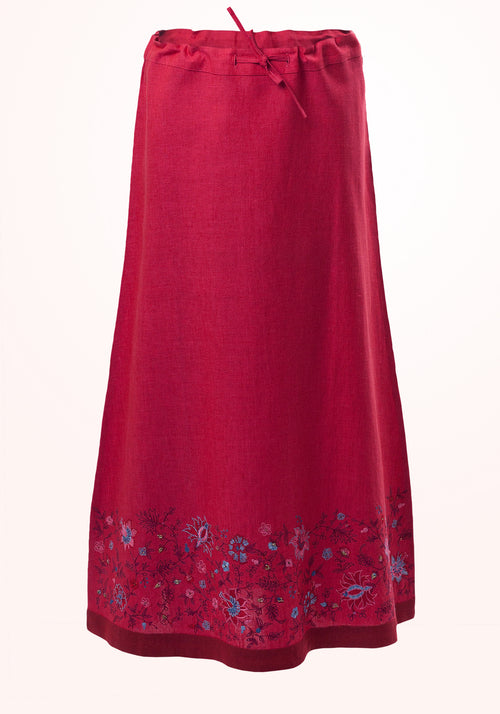 Raspberry Sorbet Girls Skirt in Fuchsia Linen