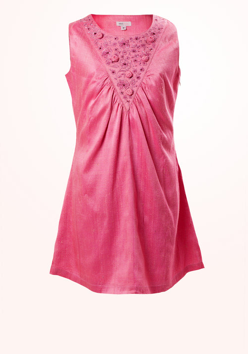 Spring Rose Gathered Yoke Girls Dress in Pink Silk